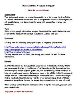 Webquest:  Who the Heck is Liebniz? (Calculus)