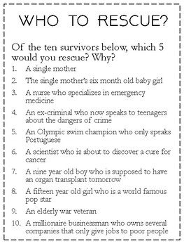 Who to Rescue: A Problem with No Right Answer
