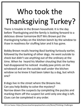 Who took the Thanksgiving Turkey?