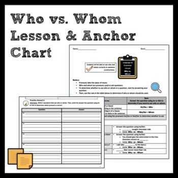 who vs whom grammar lesson anchor chart by middle school writer. Black Bedroom Furniture Sets. Home Design Ideas