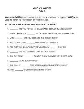 Who vs. Whom - Grammar WarmUp