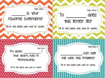 Who vs. Whom Task Cards (Grades 4 - 6)