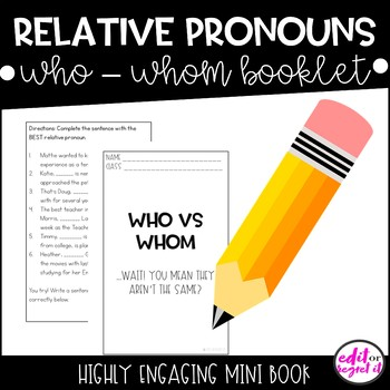 Relative Pronouns who and whom activities with ANSWER KEY!