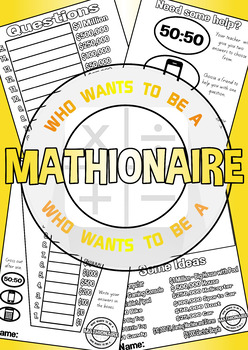 * FREE * Who wants to be a Mathionaire!!! Fun maths printable for any age group.
