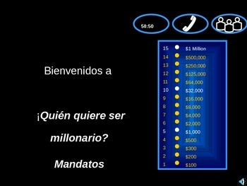 Who wants to be a Millionaire - Spanish commands (usted/ustedes/tú/nosotros)