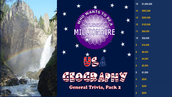 Who wants to be a student millioniare: USA Geography (pack 2)