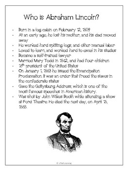 Abraham Lincoln - No-prep worksheets, activities & craftivity