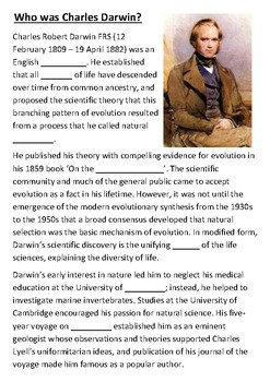 Who was Charles Darwin Cloze Activity