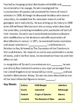 Who was Charles Darwin Cloze Activity