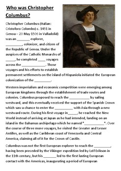 Who was Christopher Columbus Cloze Activity