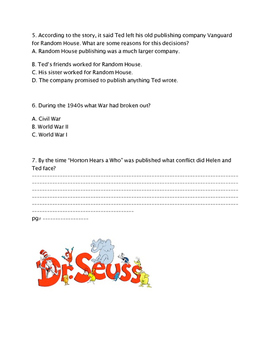 Who was Dr Seuss Chapter 5 & 6 Quiz