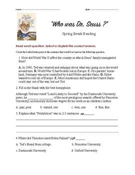 Who was Dr. Seuss Novel Spring Break Reading