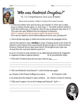 Who was Frederick Douglass 5&6 Quiz(2)