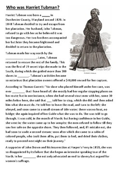 Who was Harriet Tubman Cloze Activity