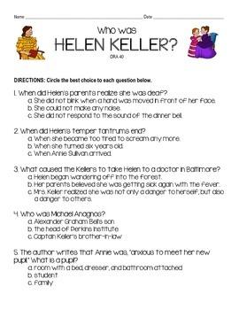 """""""Who was Helen Keller?"""" Assessment"""