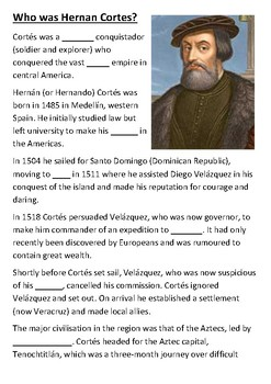 Who was Hernan Cortes Cloze Activity