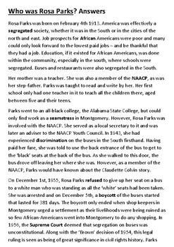 Who was Rosa Parks Cloze Activity