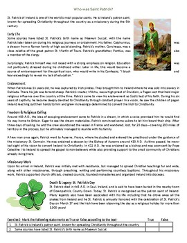 Who was Saint Patrick? - Reading Comprehension - Informational Text