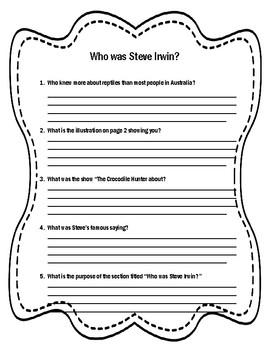 Who was Steve Irwin Novel Study