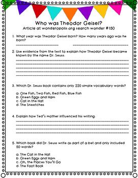Who was Theodor Geisel? Dr. Seuss Wonderopolis