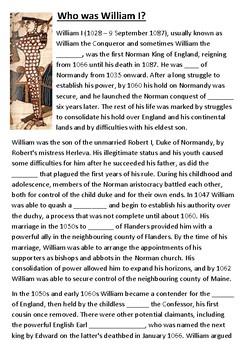 Who was William the Conqueror cloze activity