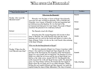 Who were the Pharaohs? Close Reading