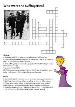 Who were the Suffragettes Crossword
