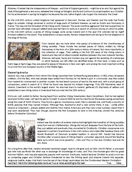 Who were the Vikings? - Reading Comprehension Worksheet / Text