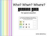 WH Question Adapted Book for Special Education