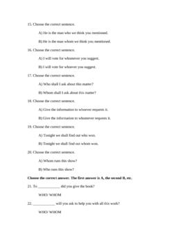 Who/Whom Quiz