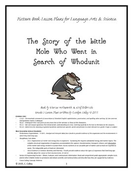 Whodunit Mystery Picture Book Lesson Plans - Language Arts & Science Integration
