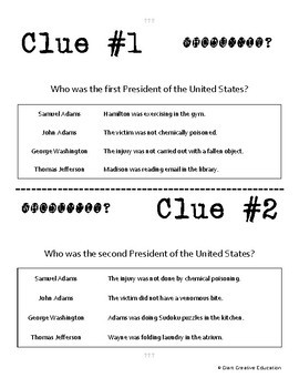Whodunnit? - A New Nation - Executive Branch - Knowledge Building Activity