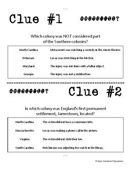 Whodunnit? - American Colonies - Southern Colonies - Knowledge Building Activity