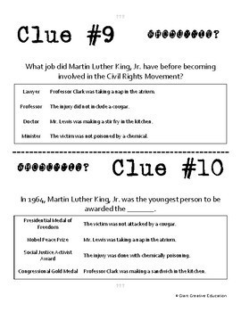 Whodunnit? - Martin Luther King Jr. - Civil Rights Movement - Class Activity