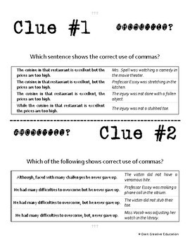 Whodunnit? - Commas - Compound Sentences - Skill Practice ELA Activity