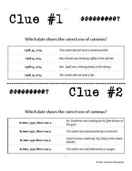 Whodunnit? - Commas - Dates, Address & Letters - Skill Practice ELA Activity
