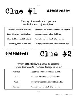 Whodunnit? - Crusades - Geography - Knowledge Building Activity