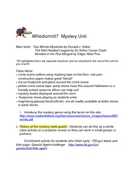 Whodunnit?  ELA Mystery Unit for Critical Thinking, Reading, and Writing Skills