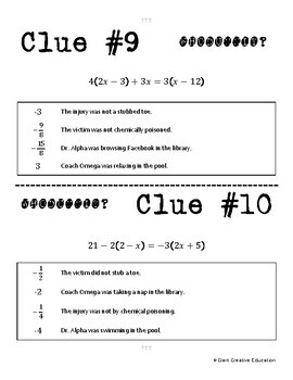 Whodunnit? -- Equations with Distribution - Skill Activity