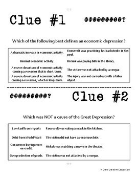 Whodunnit - Great Depression - New Deal - Knowledge Building Activity