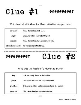 Whodunnit? - Maya Civilization - Government & Society - Activity