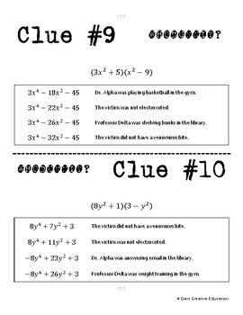 Whodunnit? -- Multiplying Binomials - Skill Building Class Activity
