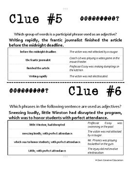 Whodunnit? - Adjectival, Adverbial & Participial Phrases ELA Practice Activity