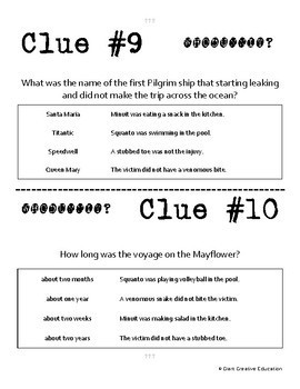 Whodunnit? - Mayflower - Knowledge Building Activity