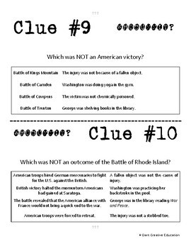 Whodunnit? - Revolutionary War - Land Campaigns 1778-1783 - Knowledge Activity