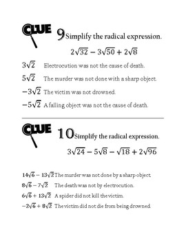 Whodunnit? Adding and Subtracting Radical Expressions