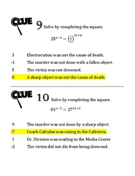 Whodunnit - Solving Exponential Equations
