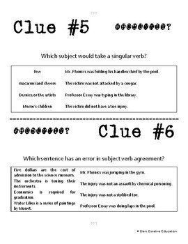 Whodunnit? - Subject-Verb Agreement - Skill Practice ELA Activity
