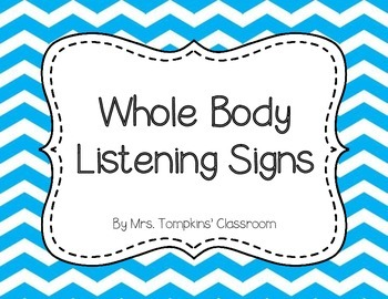 Whole Body Listening Classroom Posters