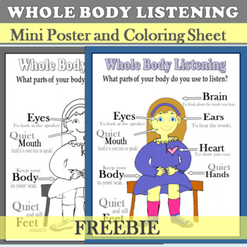 Whole Body Listening Mini Poster and Coloring Sheet